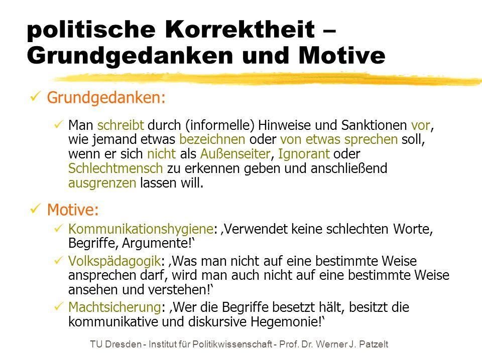 TU Dresden - Institut für Politikwissenschaft - Prof. Dr. Werner J. Patzelt Nah- und Fernbild II: innerhalb und außerhalb der Lebenswelt zur persönlic