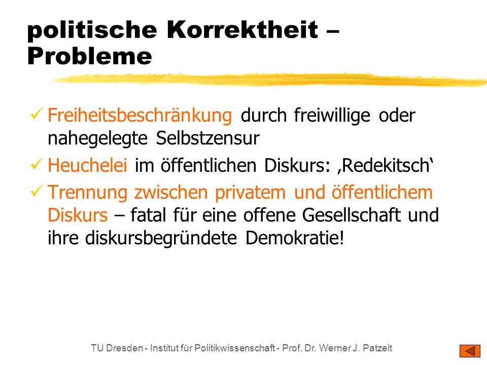 TU Dresden - Institut für Politikwissenschaft - Prof. Dr. Werner J. Patzelt politische Korrektheit – Grundgedanken und Motive Grundgedanken: Man schre