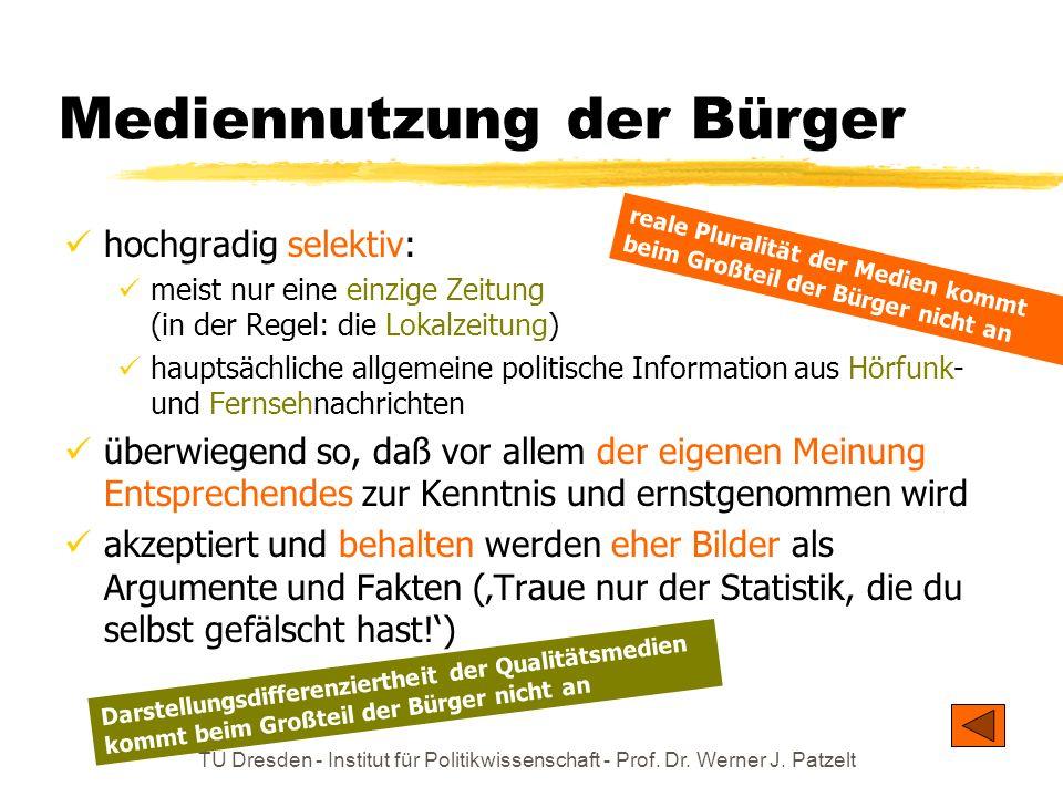 TU Dresden - Institut für Politikwissenschaft - Prof. Dr. Werner J. Patzelt Die Schweigespirale Menschen wollen sich nicht gerne isolieren. Sie haben