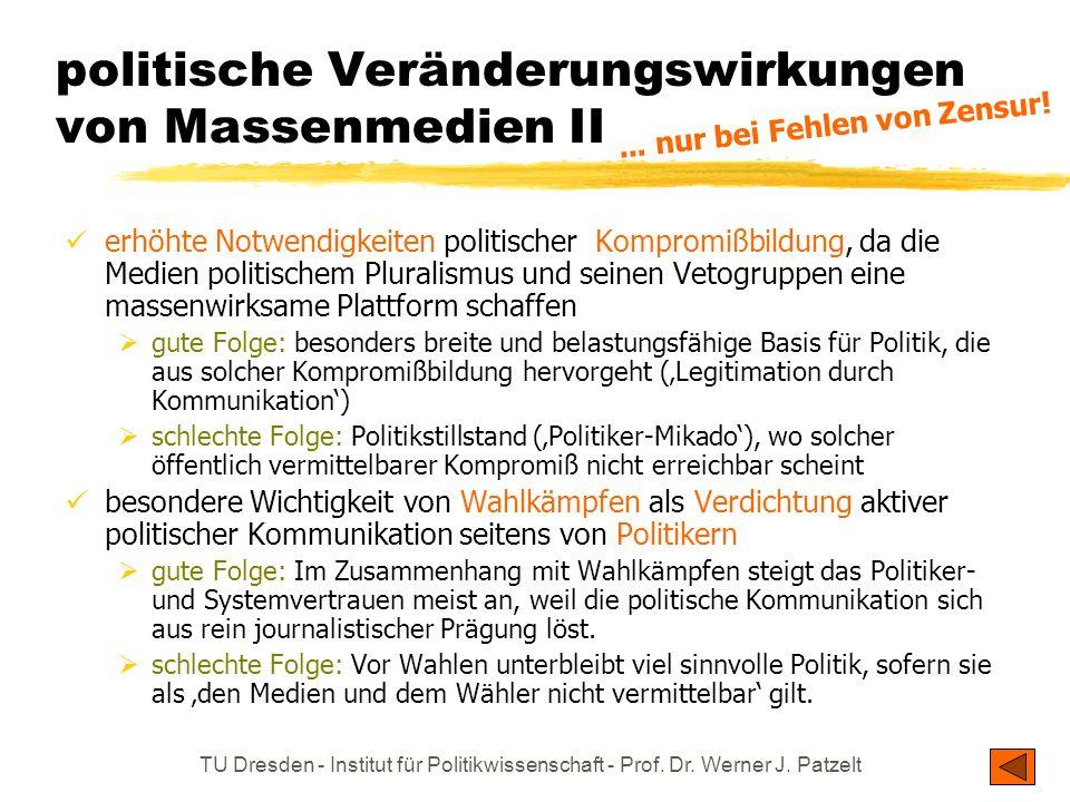TU Dresden - Institut für Politikwissenschaft - Prof. Dr. Werner J. Patzelt politische Veränderungswirkungen von Massenmedien I Allein schon das Aufko