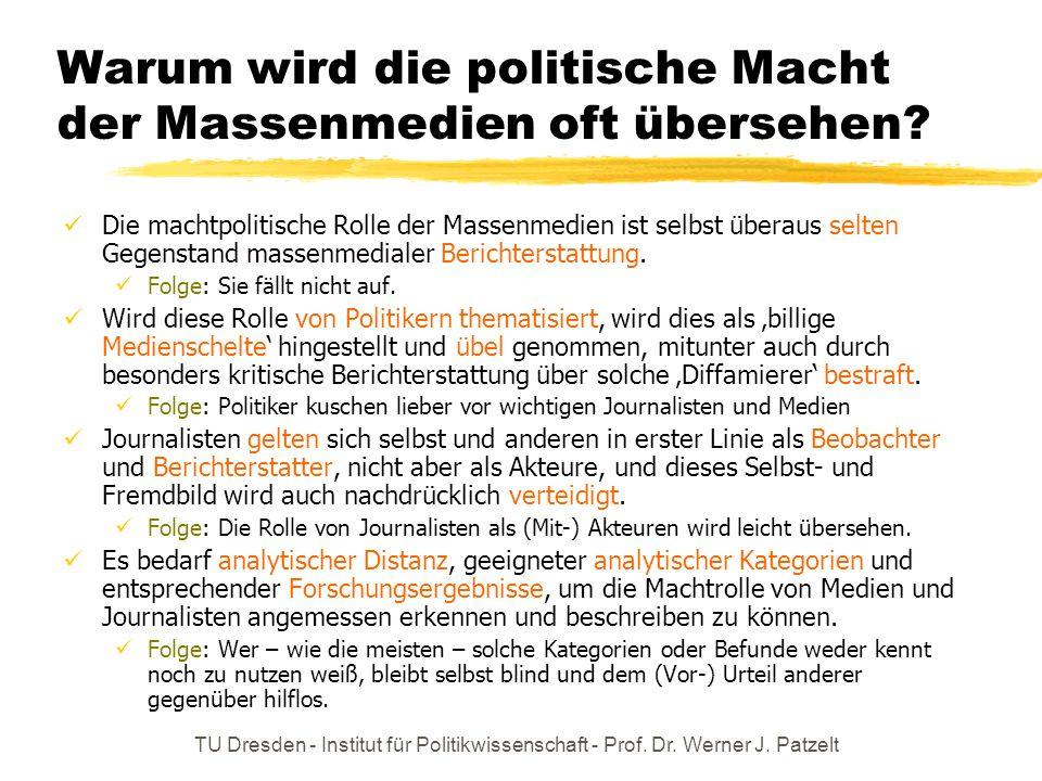TU Dresden - Institut für Politikwissenschaft - Prof. Dr. Werner J. Patzelt Medialisierung / Mediatisierung = politische Klasse paßt sich den neuen Ra