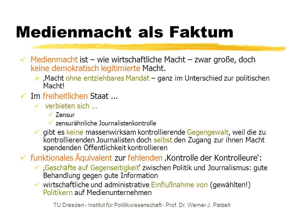 TU Dresden - Institut für Politikwissenschaft - Prof. Dr. Werner J. Patzelt Warum wird die politische Macht der Massenmedien oft übersehen? Die machtp