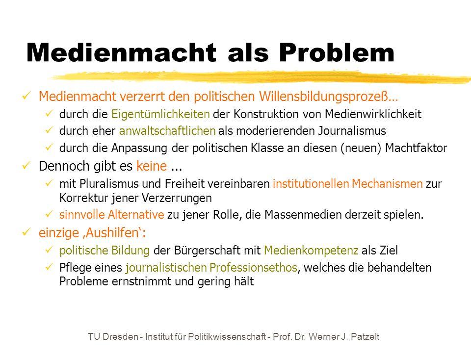 TU Dresden - Institut für Politikwissenschaft - Prof. Dr. Werner J. Patzelt Medienmacht als Faktum Medienmacht ist – wie wirtschaftliche Macht – zwar