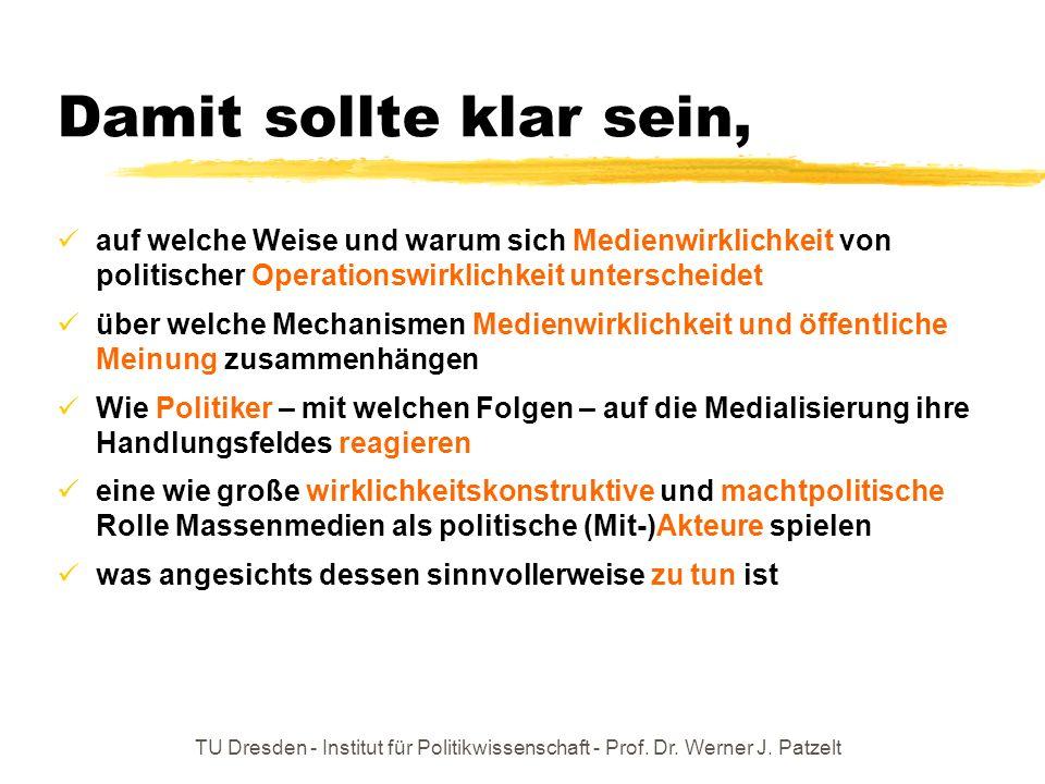 TU Dresden - Institut für Politikwissenschaft - Prof. Dr. Werner J. Patzelt Graphische Zusammenfassung OWPWMW PolitikerRezipientenJournalisten
