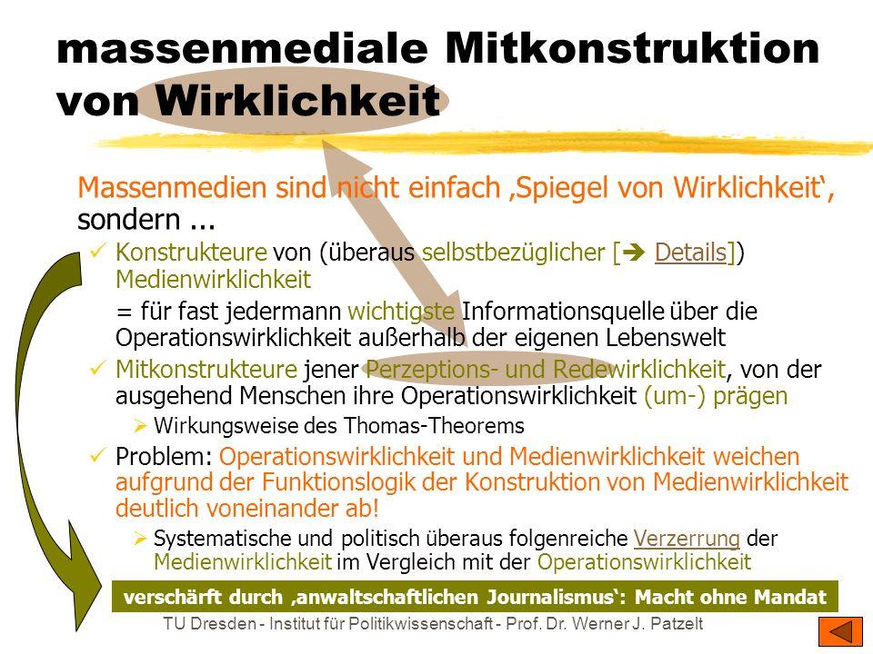 TU Dresden - Institut für Politikwissenschaft - Prof. Dr. Werner J. Patzelt sind Mitkonstrukteure von WirklichkeitMitkonstrukteure von Wirklichkeit fo