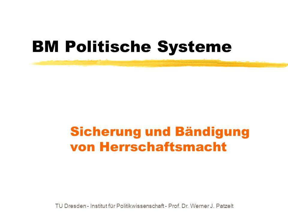 TU Dresden - Institut für Politikwissenschaft - Prof. Dr. Werner J. Patzelt BM Politische Systeme Sicherung und Bändigung von Herrschaftsmacht