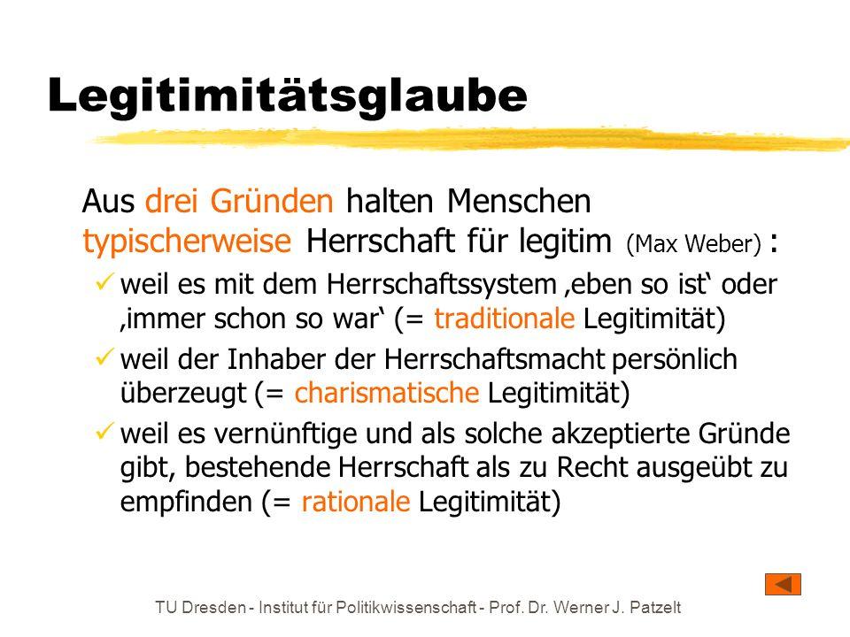TU Dresden - Institut für Politikwissenschaft - Prof. Dr. Werner J. Patzelt Legitimitätsglaube Aus drei Gründen halten Menschen typischerweise Herrsch
