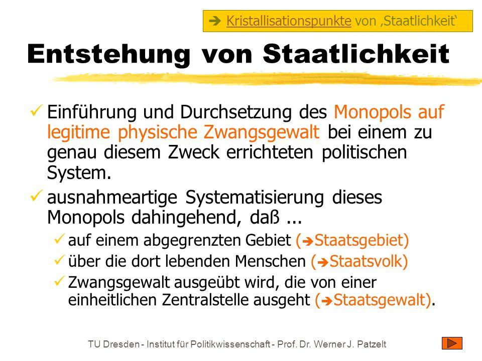 TU Dresden - Institut für Politikwissenschaft - Prof. Dr. Werner J. Patzelt Entstehung von Staatlichkeit Einführung und Durchsetzung des Monopols auf