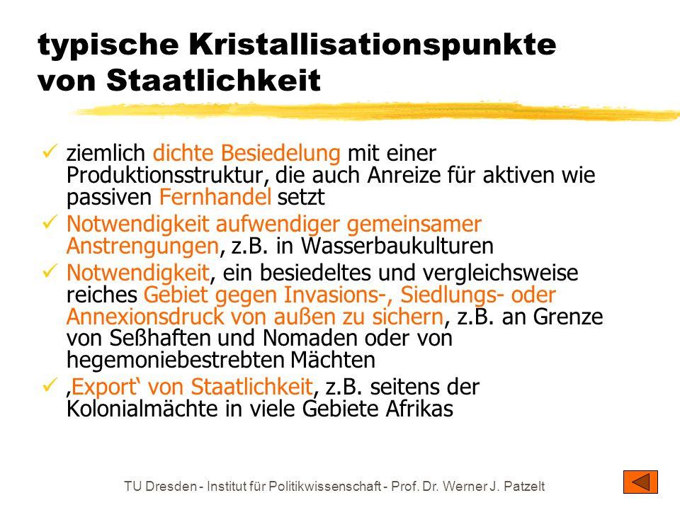 TU Dresden - Institut für Politikwissenschaft - Prof. Dr. Werner J. Patzelt typische Kristallisationspunkte von Staatlichkeit ziemlich dichte Besiedel