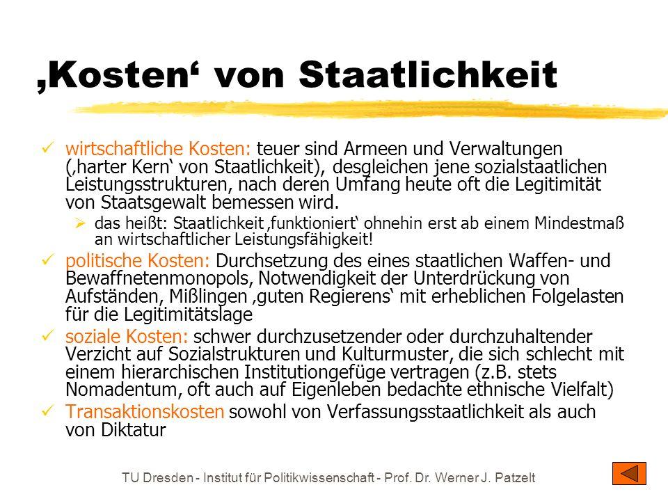 TU Dresden - Institut für Politikwissenschaft - Prof. Dr. Werner J. Patzelt Kosten von Staatlichkeit wirtschaftliche Kosten: teuer sind Armeen und Ver