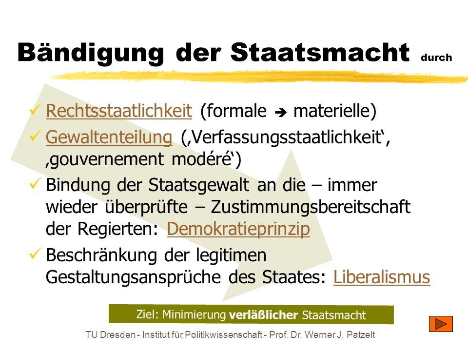 TU Dresden - Institut für Politikwissenschaft - Prof. Dr. Werner J. Patzelt Bändigung der Staatsmacht durch Rechtsstaatlichkeit (formale materielle) R