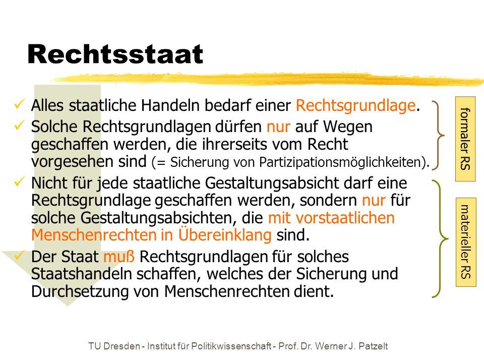 TU Dresden - Institut für Politikwissenschaft - Prof. Dr. Werner J. Patzelt formaler RS Rechtsstaat Alles staatliche Handeln bedarf einer Rechtsgrundl