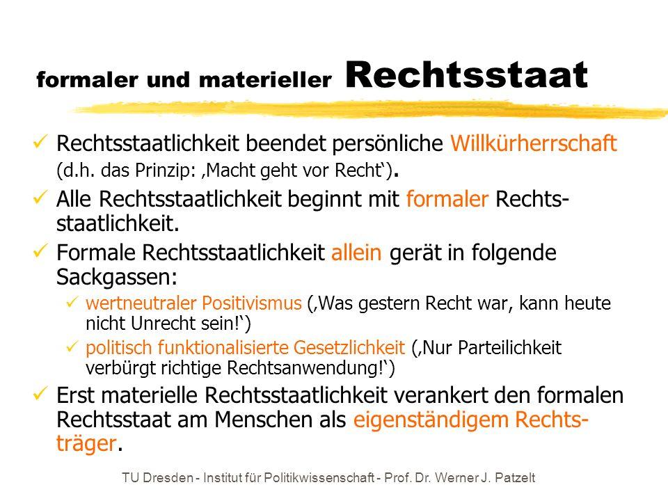 TU Dresden - Institut für Politikwissenschaft - Prof. Dr. Werner J. Patzelt formaler und materieller Rechtsstaat Rechtsstaatlichkeit beendet persönlic