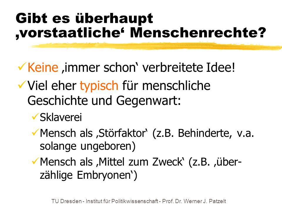 TU Dresden - Institut für Politikwissenschaft - Prof. Dr. Werner J. Patzelt Gibt es überhaupt vorstaatliche Menschenrechte? Keine immer schon verbreit