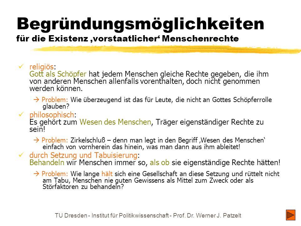 TU Dresden - Institut für Politikwissenschaft - Prof. Dr. Werner J. Patzelt Begründungsmöglichkeiten für die Existenz vorstaatlicher Menschenrechte re