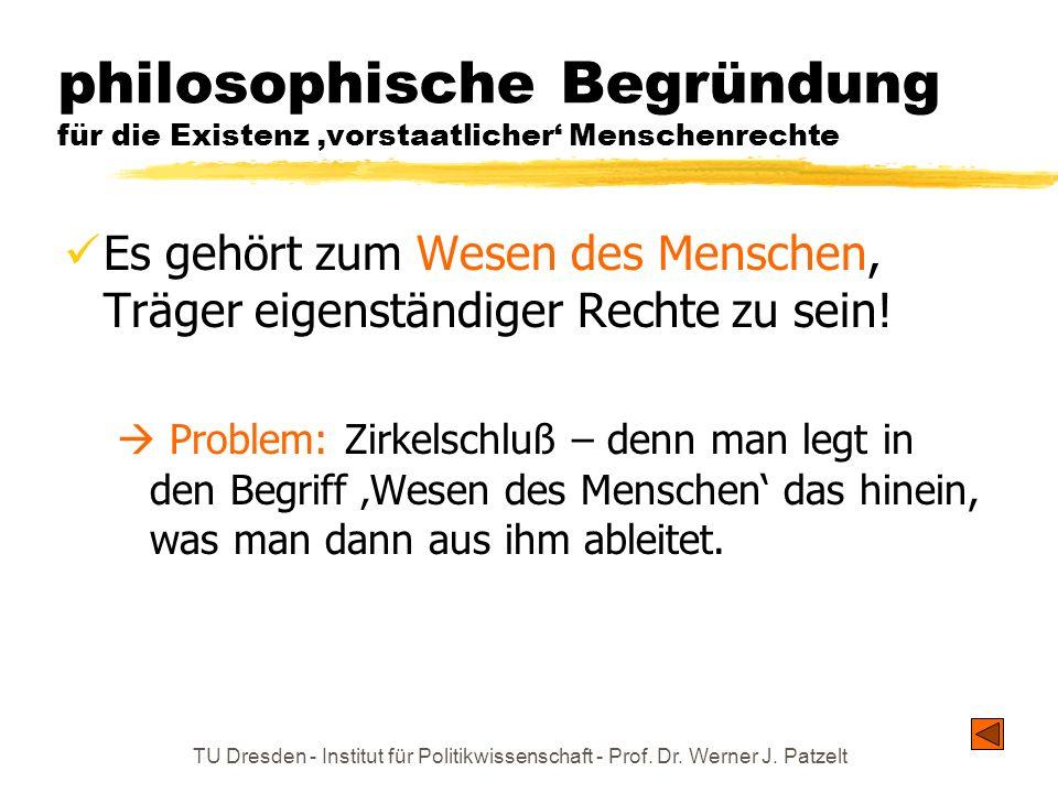TU Dresden - Institut für Politikwissenschaft - Prof. Dr. Werner J. Patzelt philosophische Begründung für die Existenz vorstaatlicher Menschenrechte E