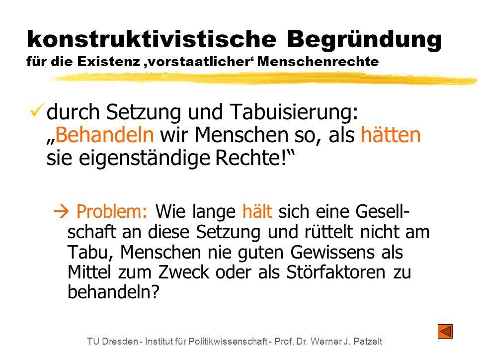 TU Dresden - Institut für Politikwissenschaft - Prof. Dr. Werner J. Patzelt konstruktivistische Begründung für die Existenz vorstaatlicher Menschenrec
