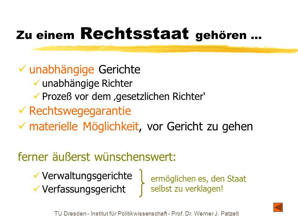 TU Dresden - Institut für Politikwissenschaft - Prof. Dr. Werner J. Patzelt Zu einem Rechtsstaat gehören... unabhängige Gerichte unabhängige Richter P