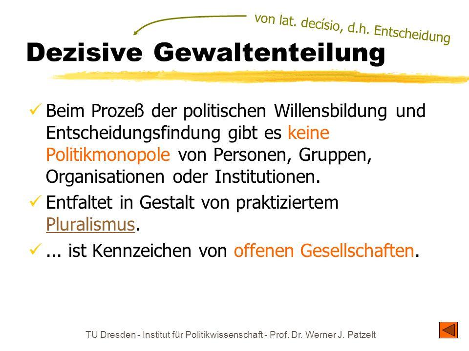 TU Dresden - Institut für Politikwissenschaft - Prof. Dr. Werner J. Patzelt Dezisive Gewaltenteilung Beim Prozeß der politischen Willensbildung und En
