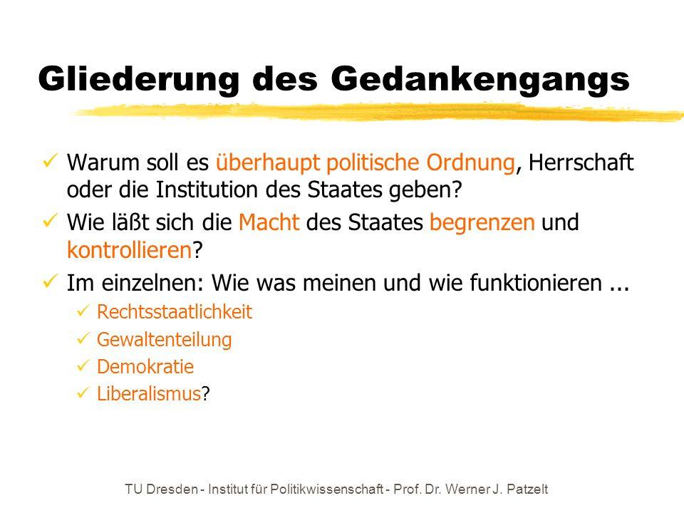 TU Dresden - Institut für Politikwissenschaft - Prof. Dr. Werner J. Patzelt Gliederung des Gedankengangs Warum soll es überhaupt politische Ordnung, H