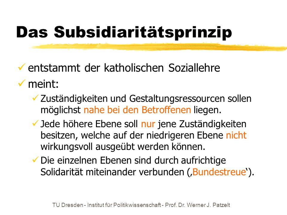 TU Dresden - Institut für Politikwissenschaft - Prof. Dr. Werner J. Patzelt Das Subsidiaritätsprinzip entstammt der katholischen Soziallehre meint: Zu