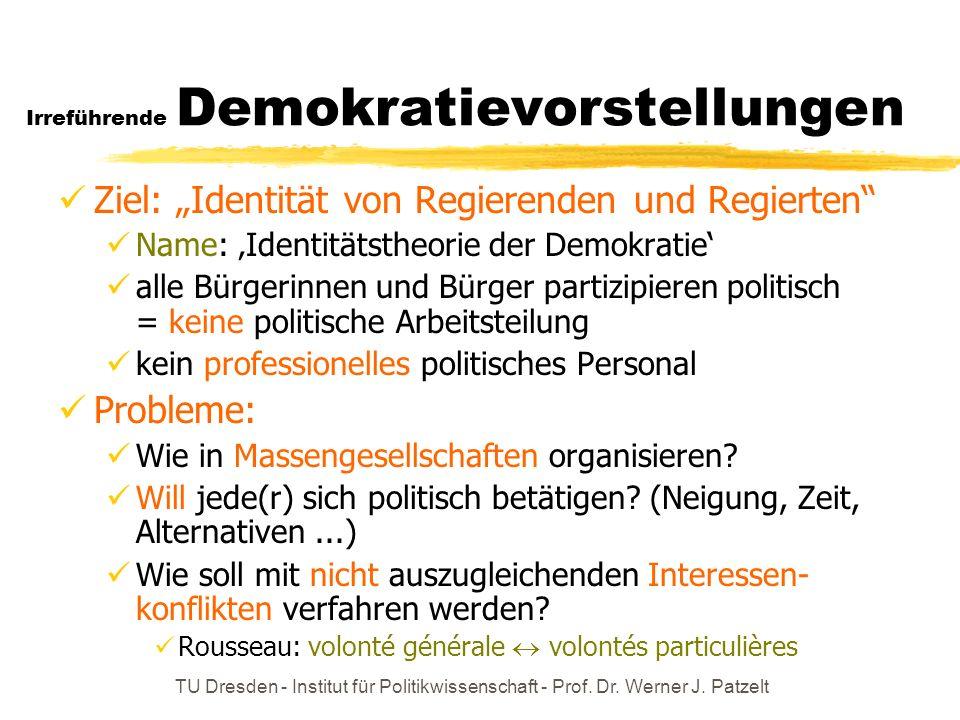 TU Dresden - Institut für Politikwissenschaft - Prof. Dr. Werner J. Patzelt Irreführende Demokratievorstellungen Ziel: Identität von Regierenden und R