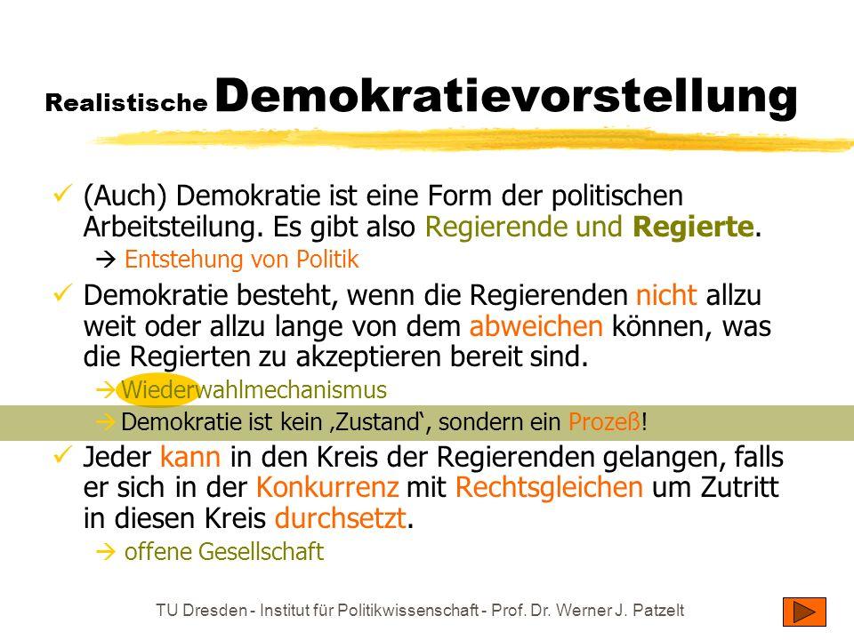 TU Dresden - Institut für Politikwissenschaft - Prof. Dr. Werner J. Patzelt Realistische Demokratievorstellung (Auch) Demokratie ist eine Form der pol