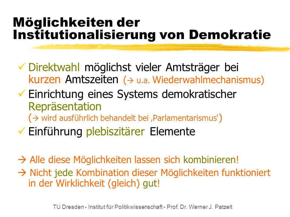 TU Dresden - Institut für Politikwissenschaft - Prof. Dr. Werner J. Patzelt Möglichkeiten der Institutionalisierung von Demokratie Direktwahl möglichs