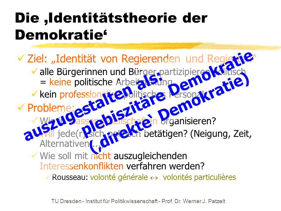 TU Dresden - Institut für Politikwissenschaft - Prof. Dr. Werner J. Patzelt Die Identitätstheorie der Demokratie Ziel: Identität von Regierenden und R