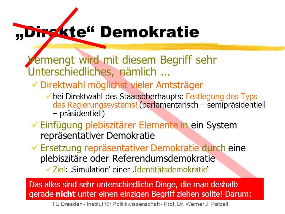 TU Dresden - Institut für Politikwissenschaft - Prof. Dr. Werner J. Patzelt Das alles sind sehr unterschiedliche Dinge, die man deshalb gerade nicht u
