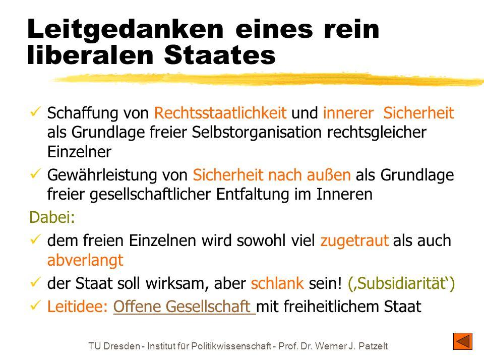 TU Dresden - Institut für Politikwissenschaft - Prof. Dr. Werner J. Patzelt Leitgedanken eines rein liberalen Staates Schaffung von Rechtsstaatlichkei