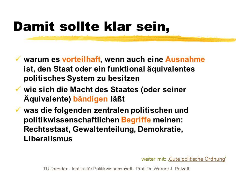 TU Dresden - Institut für Politikwissenschaft - Prof. Dr. Werner J. Patzelt Damit sollte klar sein, warum es vorteilhaft, wenn auch eine Ausnahme ist,