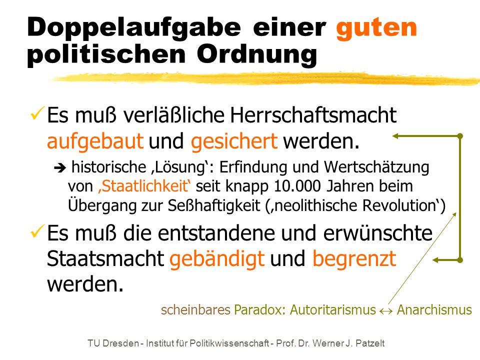 TU Dresden - Institut für Politikwissenschaft - Prof. Dr. Werner J. Patzelt Doppelaufgabe einer guten politischen Ordnung Es muß verläßliche Herrschaf