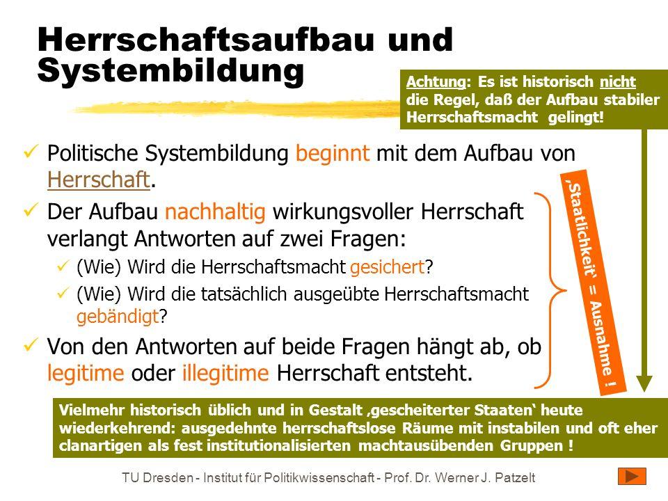 TU Dresden - Institut für Politikwissenschaft - Prof. Dr. Werner J. Patzelt Herrschaftsaufbau und Systembildung Politische Systembildung beginnt mit d