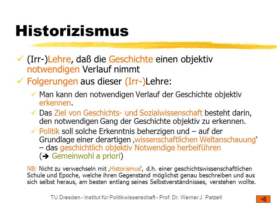 TU Dresden - Institut für Politikwissenschaft - Prof. Dr. Werner J. Patzelt Historizismus (Irr-)Lehre, daß die Geschichte einen objektiv notwendigen V