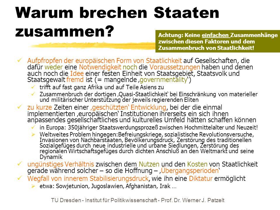TU Dresden - Institut für Politikwissenschaft - Prof. Dr. Werner J. Patzelt Warum brechen Staaten zusammen? Aufpfropfen der europäischen Form von Staa