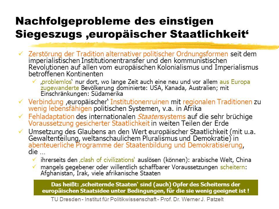 TU Dresden - Institut für Politikwissenschaft - Prof. Dr. Werner J. Patzelt Nachfolgeprobleme des einstigen Siegeszugs europäischer Staatlichkeit Zers
