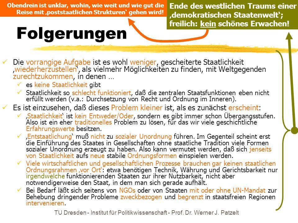 TU Dresden - Institut für Politikwissenschaft - Prof. Dr. Werner J. Patzelt Folgerungen Die vorrangige Aufgabe ist es wohl weniger, gescheiterte Staat