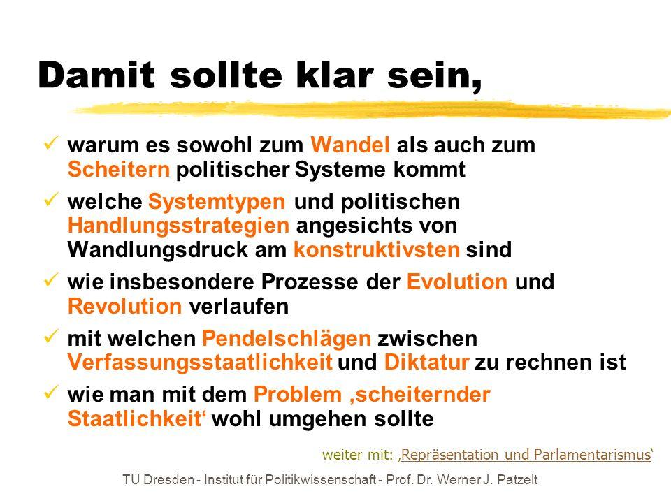 TU Dresden - Institut für Politikwissenschaft - Prof. Dr. Werner J. Patzelt Damit sollte klar sein, warum es sowohl zum Wandel als auch zum Scheitern