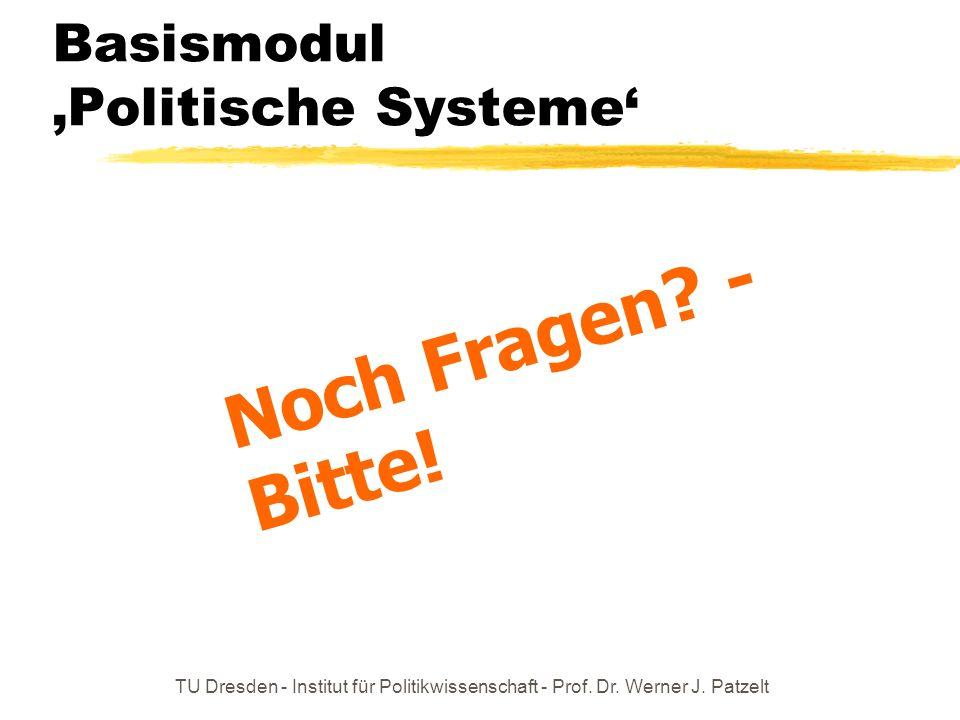 TU Dresden - Institut für Politikwissenschaft - Prof. Dr. Werner J. Patzelt Basismodul Politische Systeme Noch Fragen? - Bitte!