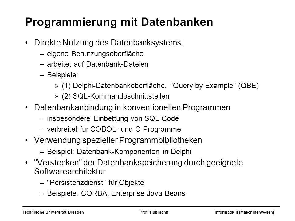 Technische Universität DresdenProf. HußmannInformatik II (Maschinenwesen) Programmierung mit Datenbanken Direkte Nutzung des Datenbanksystems: –eigene
