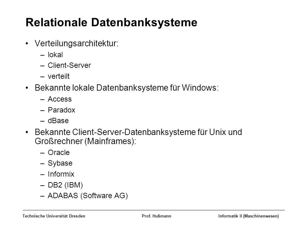 Technische Universität DresdenProf. HußmannInformatik II (Maschinenwesen) Relationale Datenbanksysteme Verteilungsarchitektur: –lokal –Client-Server –
