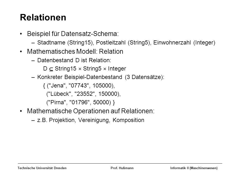 Technische Universität DresdenProf. HußmannInformatik II (Maschinenwesen) Relationen Beispiel für Datensatz-Schema: –Stadtname (String15), Postleitzah
