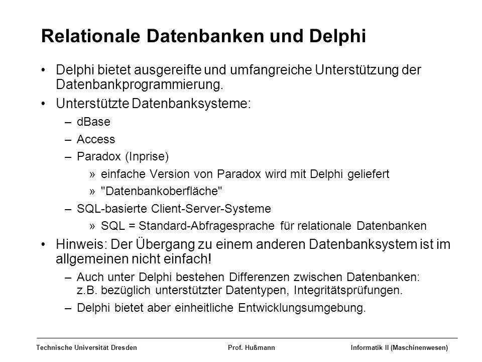 Technische Universität DresdenProf. HußmannInformatik II (Maschinenwesen) Relationale Datenbanken und Delphi Delphi bietet ausgereifte und umfangreich