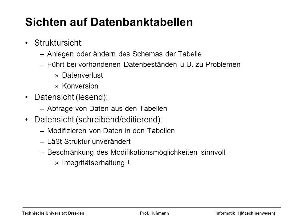 Technische Universität DresdenProf. HußmannInformatik II (Maschinenwesen) Sichten auf Datenbanktabellen Struktursicht: –Anlegen oder ändern des Schema