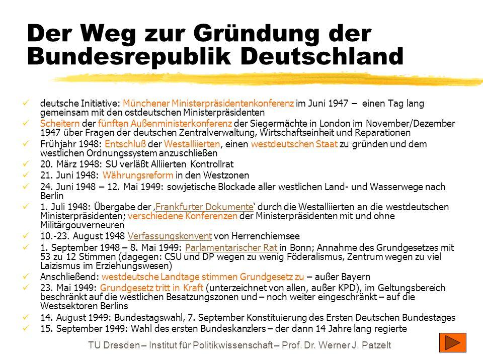 TU Dresden – Institut für Politikwissenschaft – Prof. Dr. Werner J. Patzelt Der Weg zur Gründung der Bundesrepublik Deutschland deutsche Initiative: M
