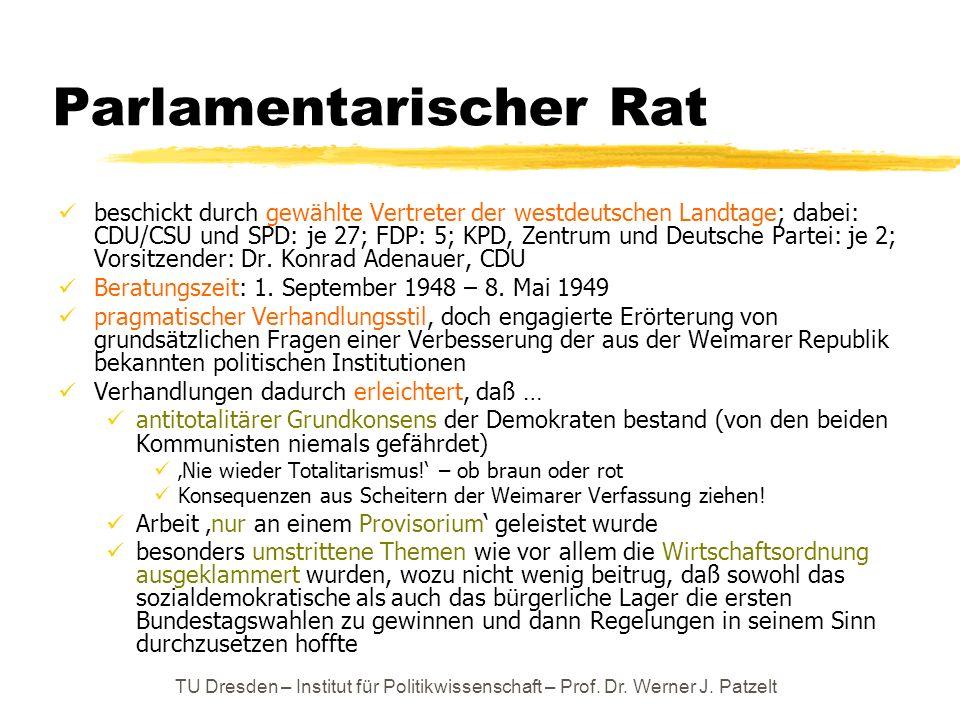 TU Dresden – Institut für Politikwissenschaft – Prof. Dr. Werner J. Patzelt Parlamentarischer Rat beschickt durch gewählte Vertreter der westdeutschen