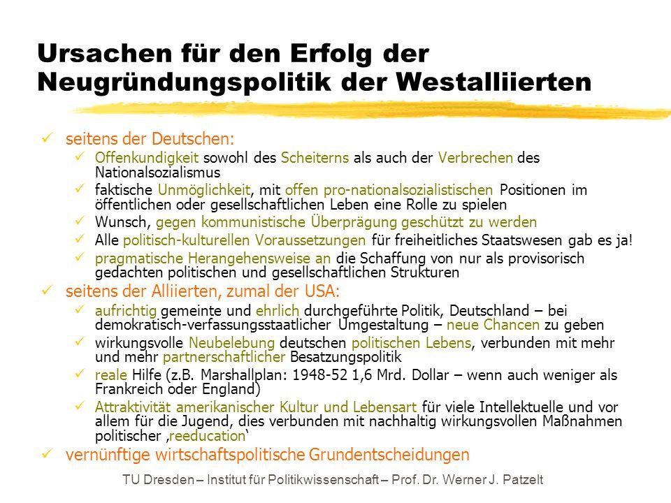 TU Dresden – Institut für Politikwissenschaft – Prof. Dr. Werner J. Patzelt Ursachen für den Erfolg der Neugründungspolitik der Westalliierten seitens