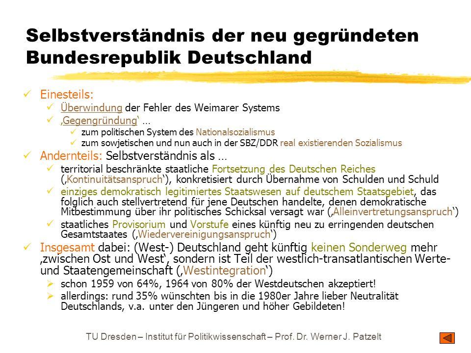 TU Dresden – Institut für Politikwissenschaft – Prof. Dr. Werner J. Patzelt Selbstverständnis der neu gegründeten Bundesrepublik Deutschland Einesteil