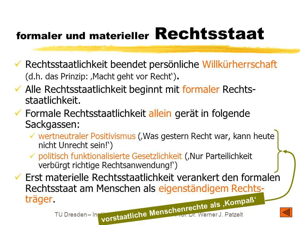 TU Dresden – Institut für Politikwissenschaft – Prof. Dr. Werner J. Patzelt formaler und materieller Rechtsstaat Rechtsstaatlichkeit beendet persönlic
